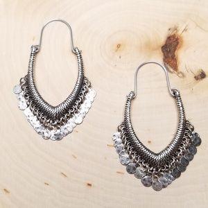 Jewelry - Silver Tone Brutalist Disc Fringe Hoop Earrings